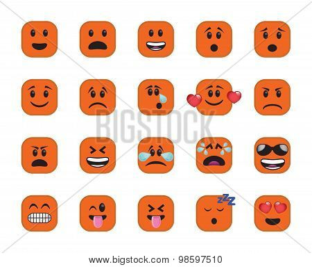 Set Of Orange Chamfered Square Icons