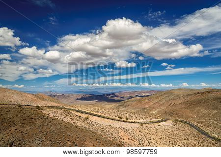Beautiful clouds over the road in Death Valley