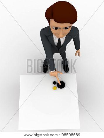 3D Man Presenting A Plain Untextured  Box  Concept