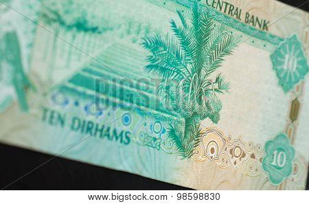 Ten Dirhams Of The United Arab Emirates Close Up
