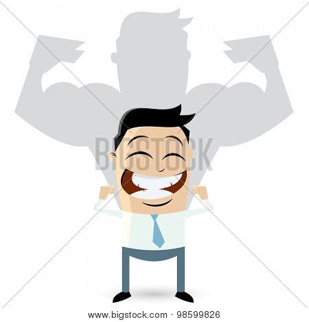 isolated business man showing his muscles