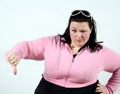 image of fat woman  - a bbw girl giving a thumbs down - JPG