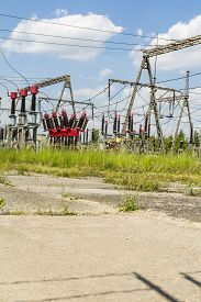 stock photo of breaker  - Circuit breaker as a component of Electrical substation - JPG