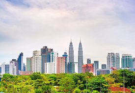 stock photo of kuala lumpur skyline  - Skyline of Kuala Lumpur in the day - JPG