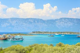pic of cleopatra  - tourist ship with mountain in background - JPG