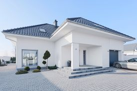 image of enormous  - View from outside of enormous modern villa - JPG