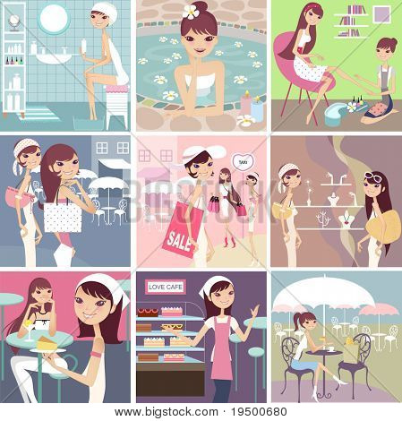 collection of fashion girl lifestyle