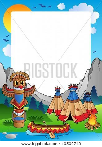 Frame with Indian village - vector illustration.