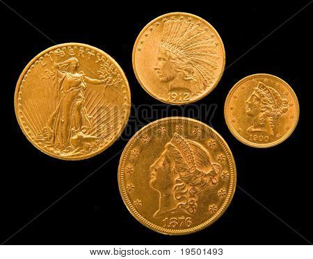 Four Gold US Coins