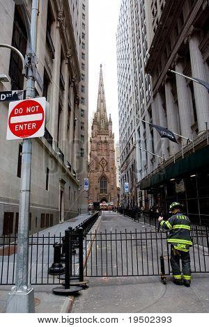 Feuerwehrmann an der Wall Street