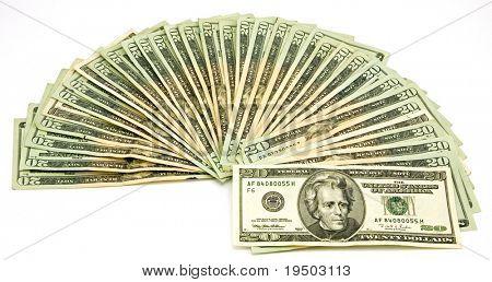Fan of US Twenty Dollar Bills Isolated on White Background.