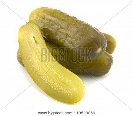 Naturally Fermented Full Sour Pickles isolated on White Background.