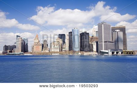 Lower end of Manhattan as seen form New York Harbor.