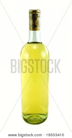 Isolated bottle of white wine.