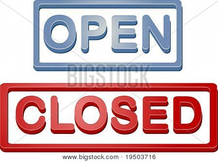 Retail shop open closed store sign illustration icon