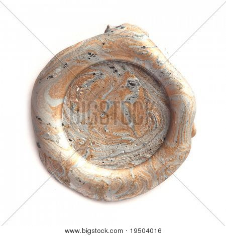 Gold and silver wax seal isolated on white