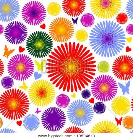 Seamless wallpaper with decorative ornamentation. The decor of colored flowers, butterflies and hearts on a white background. VECTOR (See Jpeg Also In My Portfolio)