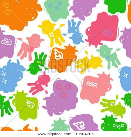 Seamless wallpaper with decorative ornamentation. The decor of colored cows, bulls and calves on a white background. VECTOR (See Jpeg Also In My Portfolio)