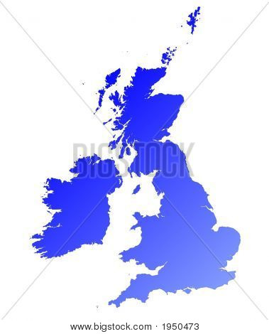 Detailed Blue Gradient Map Of United Kingdom
