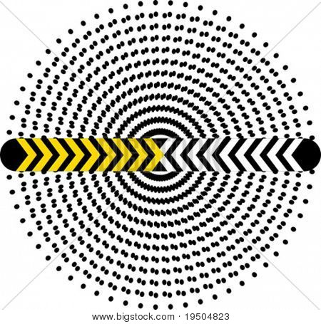 Vector design the Hypnotic circle from double and single dots. Industrial banner.