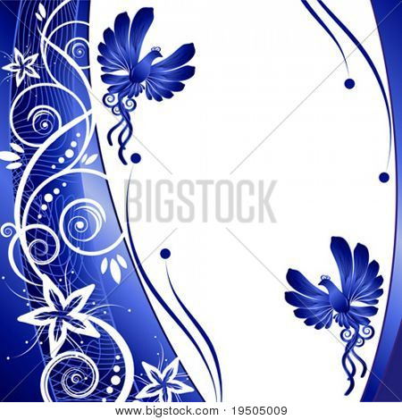 Bird. kerb decorated with blue patterns of flowers leaves spirals isolated on a white background VECTOR (See Jpeg Also In My Portfolio)