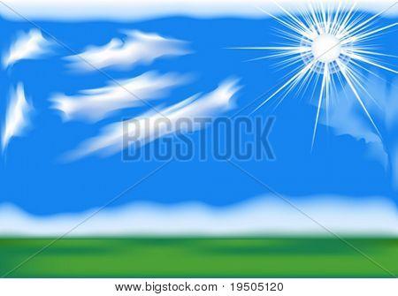 Vektor Hintergrund: Hellen Himmel mit Sonne und Wolken.