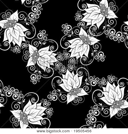 Vector Seamless background. Black and white (See raster version  Also In My Portfolio)