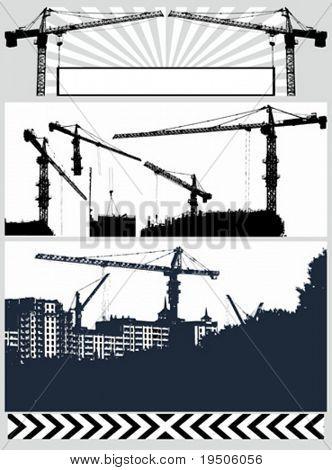 Set vector illustration  silhouette crane
