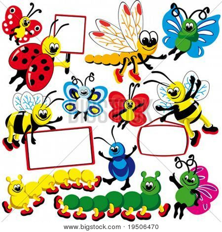 Funny insects set of banners. Dragonfly, butterflies, bees, Ladybird, caterpillars and bugs hold posters Elements for your design. VECTOR (See Jpeg Also In My Portfolio)