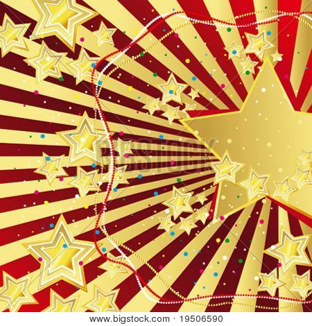 Star Festive Christmas and New Year background, decorated with gold pattern on a red background