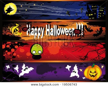 Halloween banners decorated with yellow pumpkins, spiders, bats, witch, skull, ghosts against the backdrop of night sky, the castle, moon and stars VECTOR (See Jpeg Also In My Portfolio)