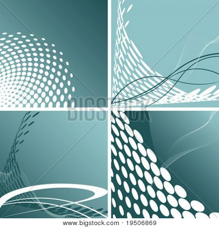 Set Doted Abstract background  Green Ornaments Blank for your design VECTOR (See Jpeg Also In My Portfolio)