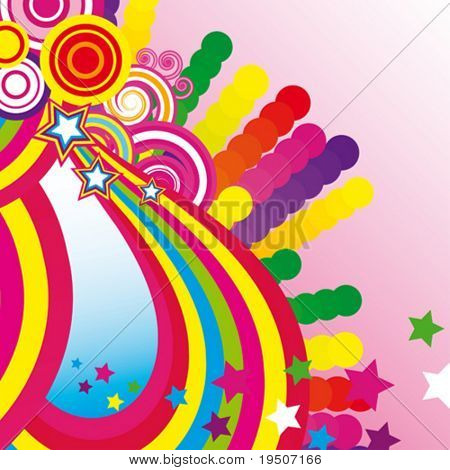 Festive abstract background of the brightest bands, arcs, circles and stars on a white background