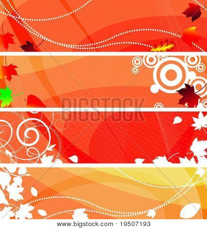 Banners set for your text, decorated with white silhouettes plant. and grunge elements on an orange, red and white background. JPG (See Vector  Also In My Portfolio)