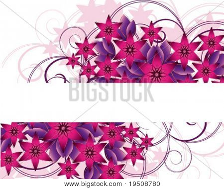 Flower background. The decor of pink and purple flowers and leaves on a white background