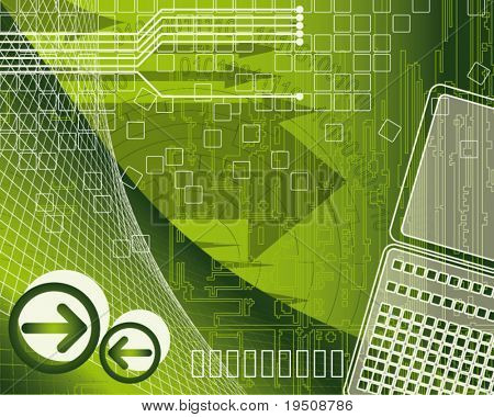 illustration of modern business. An abstract background technology and business elements on a green background