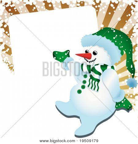 Vektor-Version. Schneemann. Weihnachtsdekoration mit Schneemann, Strahlen und Banner für Ihren Text eine unterwegs