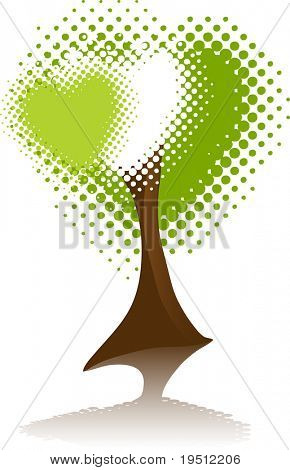 A tree with a crown of three hearts