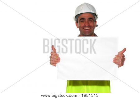 Construction Worker Holding A Blank White Board Ready For The Text Showing His Thumbs Up