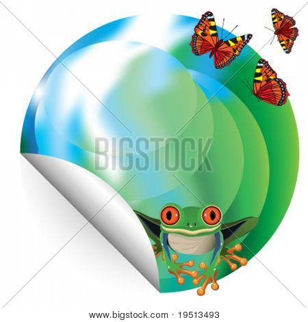 Environmental Poster: frog and a butterfly on the landscape.