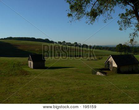 Scenery 013  Two Buildings In A Field
