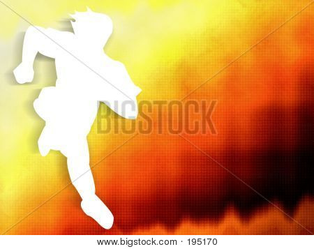 Man Running On Orange Background