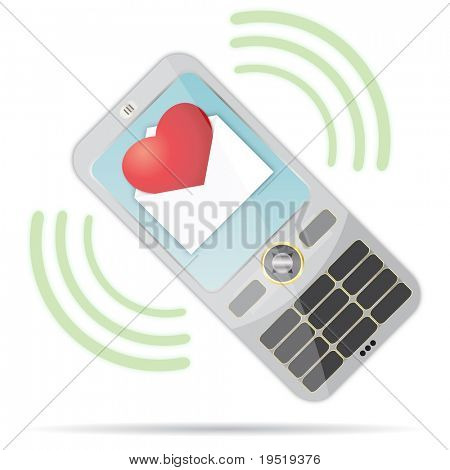 Love message on a mobile phone
