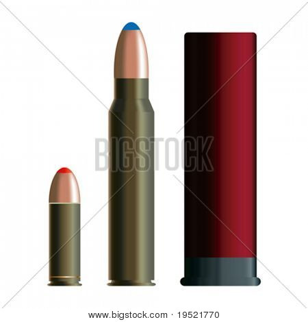Set of  bullets isolated on white background