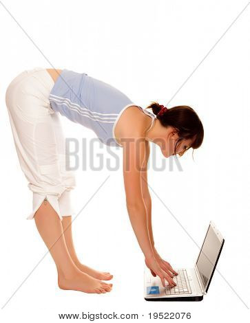 flexible young girl with laptop over white background.
