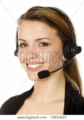 Beautiful customer service operator woman with headset, isolated on white background.