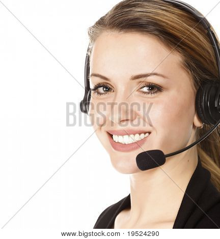 Beautiful Customer Service Operator weiblich mit Headset, isolated on white Background.