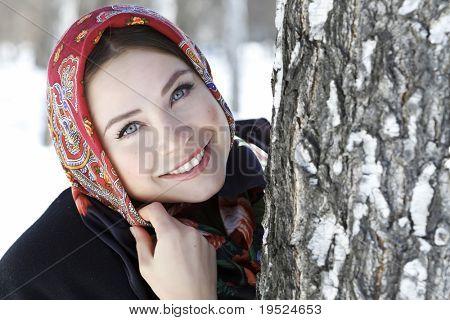 Woman in shawl