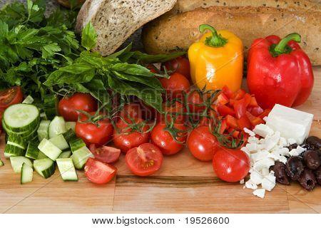 fresh ingredients for greek salad