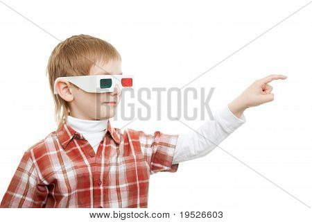 boy in 3d glasses pointing